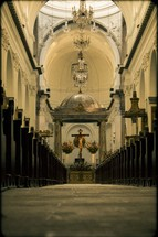altar and aisle in a a Guatemala cathedral