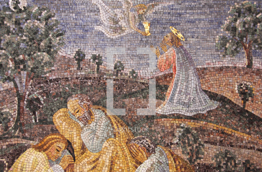 Mosaic of Jesus Praying in the Garden while the Disciples Slept