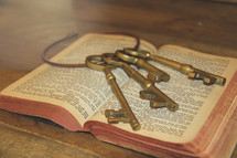 skeleton keys on the pages of a Bible