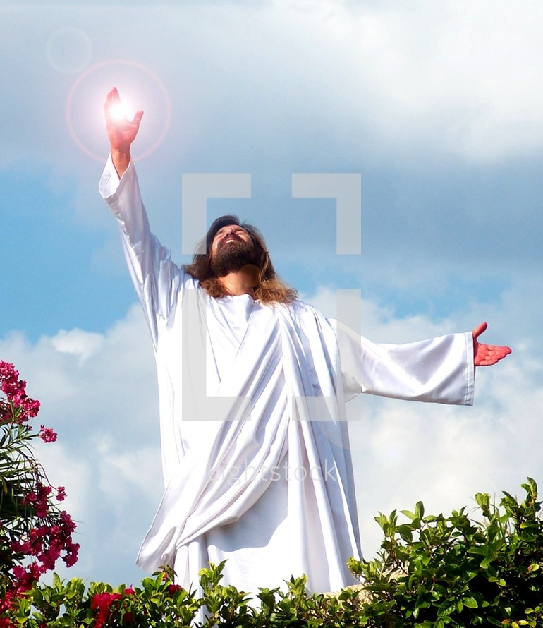 Resurrection of Jesus. Jesus reaches out to Heaven showing his power and glory to his disciples and to the world that He is the son of the most high God. He overcame death, hell and the grave and of his kingdom, there shall be no end.