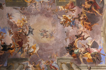 painted cathedral ceiling depicting heaven and the angelic host