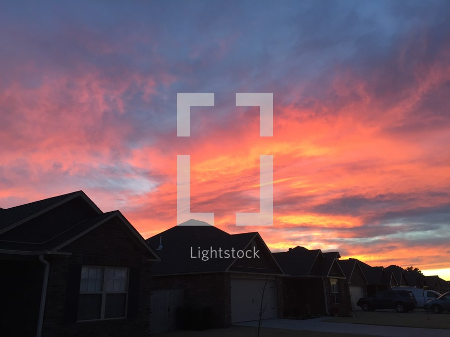 houses, neighborhood, homes, pink sky, sunset, outdoors, suburbs