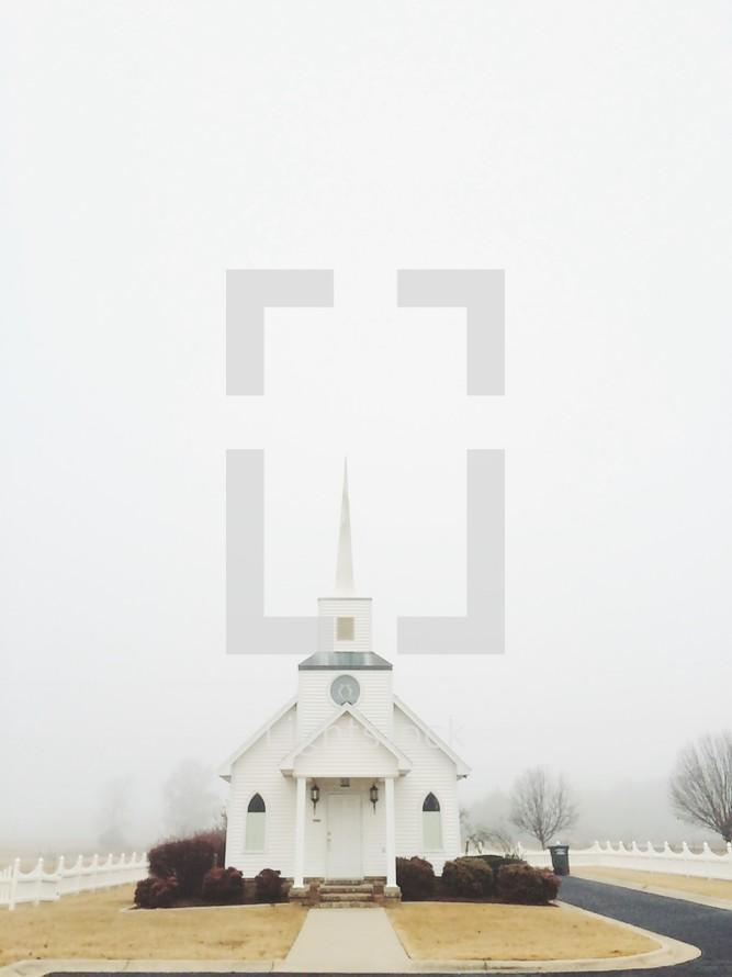 church and fog