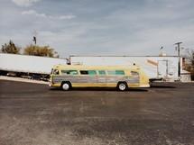 A long yellow bus.