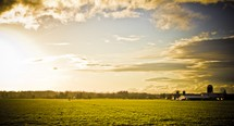 sunlight over a farm