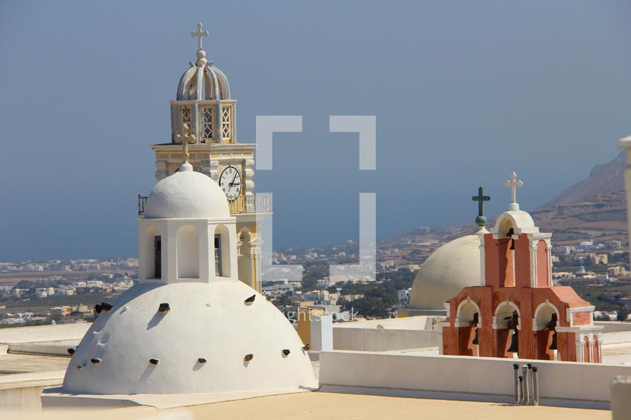 Multiple church steeples in Greece