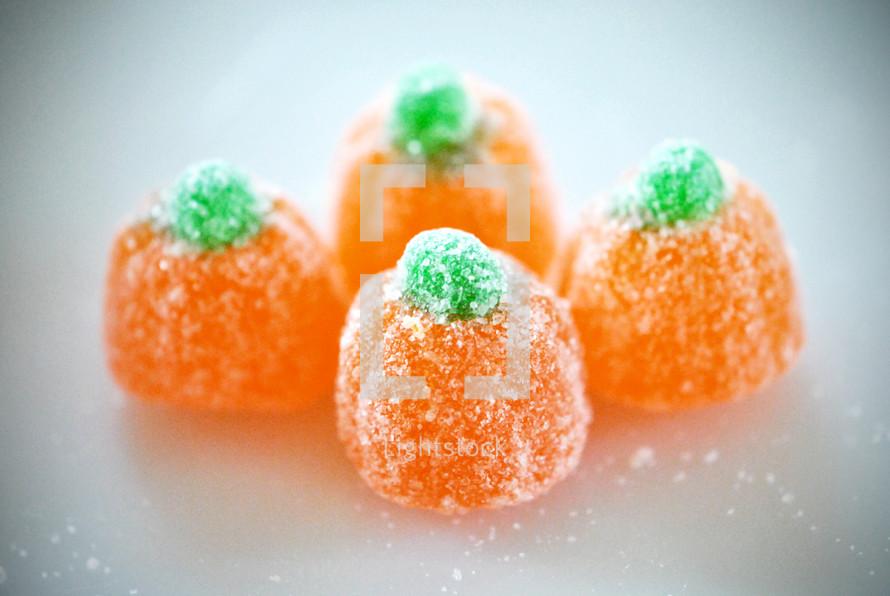 Orange gumdrop candy pumpkins.