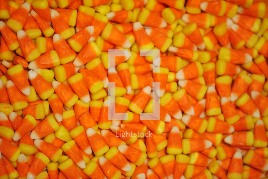 Candy corn for Halloween or Thanksgiving.  Closeup; texture.