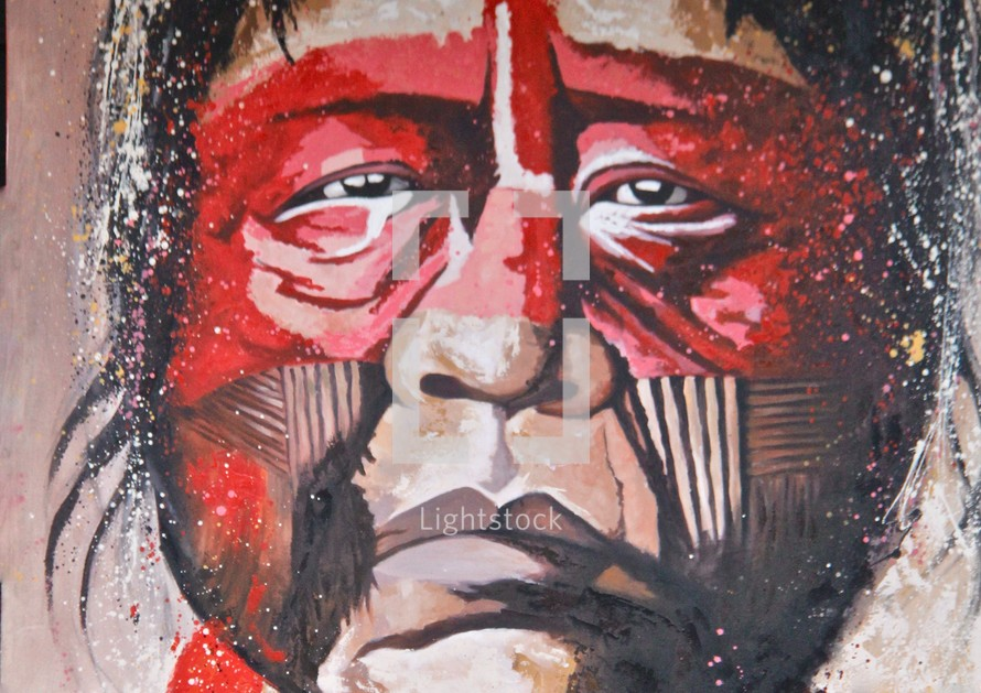 Native American Painting of Tribe Chief