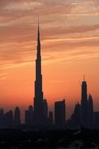 Burj Khalifa in Dubai at sunset