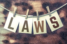 word laws on a clothesline