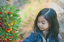 A little girl looks at a bush full of berries.