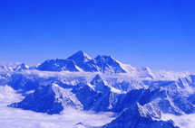 Snow on Himalaya mountain peaks including Mr Everest