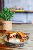 sandwich on a plate on a table