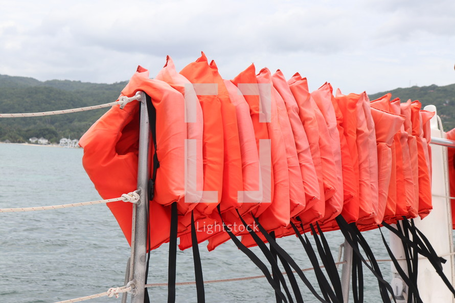 life vests on a boat