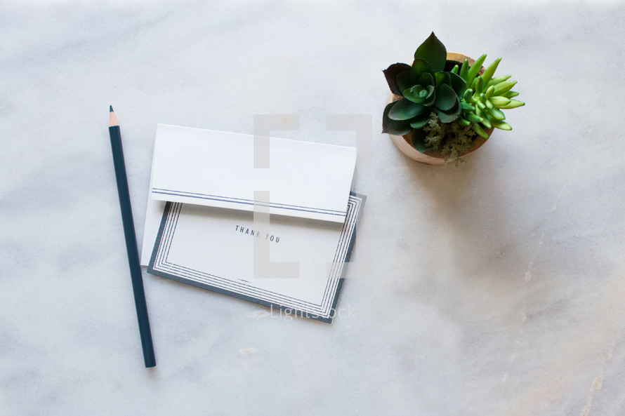 Pencil, stationary, thank you note, thank you card, house plant on a white marble counter top.