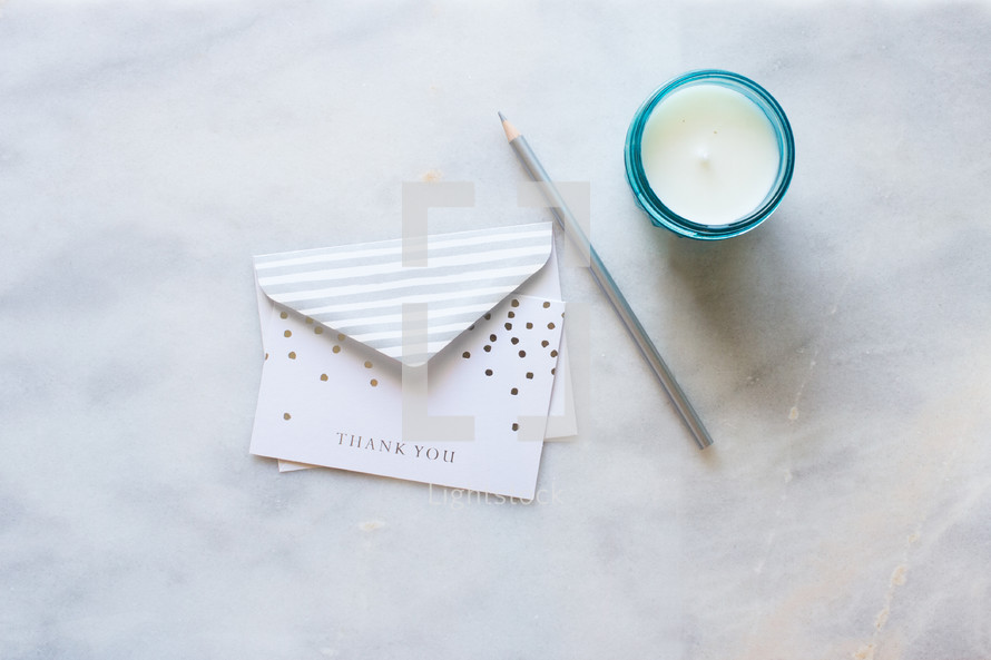 pencil, stationary, thank you note, thank you card, candle, votive