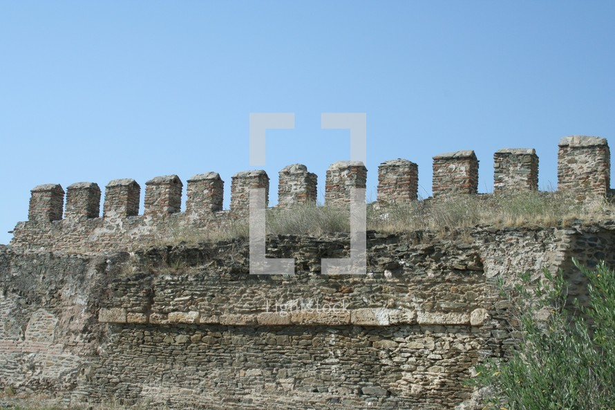 Detail from the walls surrounding Thessaloniki, Greece. These walls were built over hundreds of years and include segments from early and late time periods.