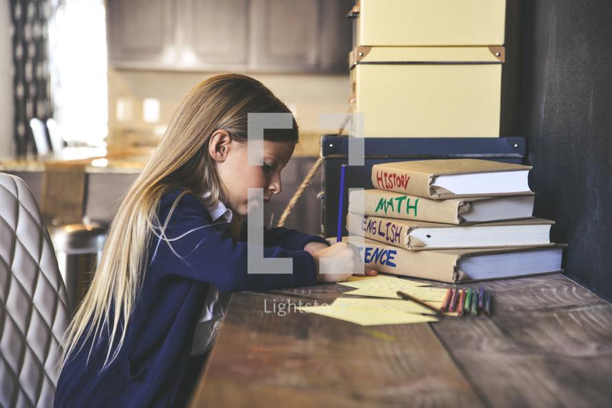 girl doing school work