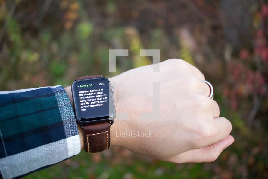 a Bible app on a smartwatch