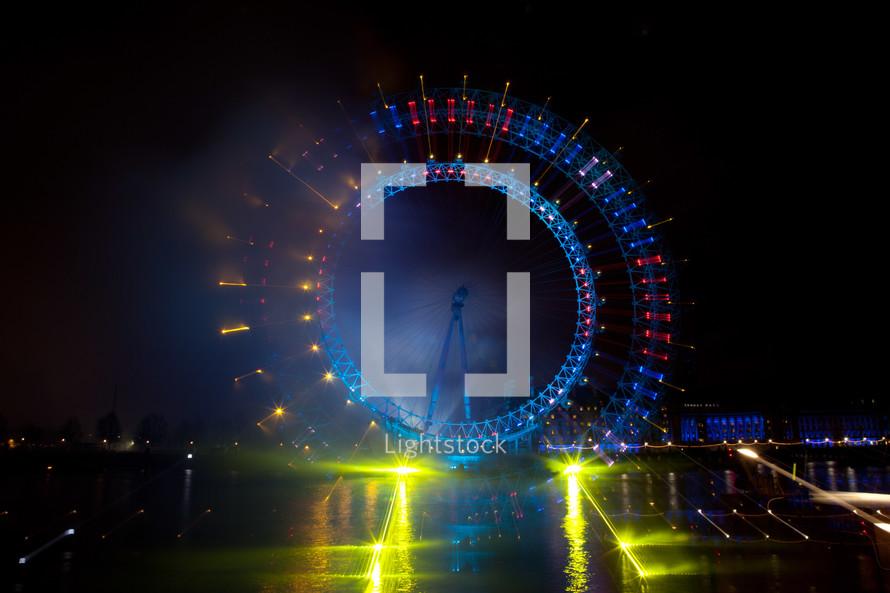 lights London Eye,