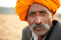 face of a nomadic man in India