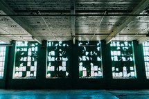 ceiling and windows in a warehouse