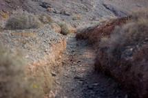 crack on gravel landscape
