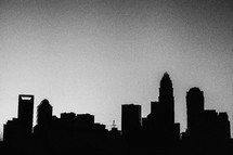 silhouette of buildings in a city