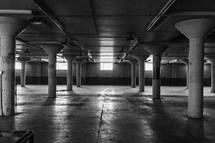 Empty parking garage.