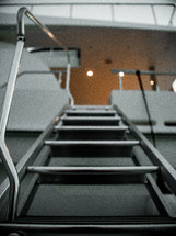 metal steps on a yacht