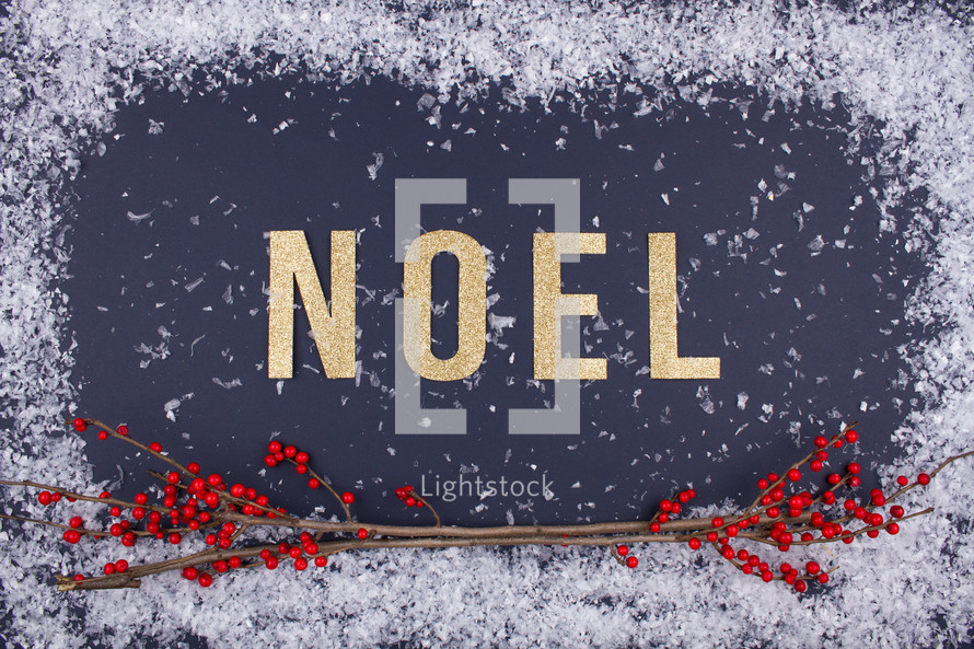 snow border with word noel