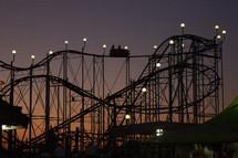 roller coaster at night