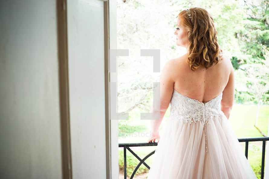 a bride with her back to the camera