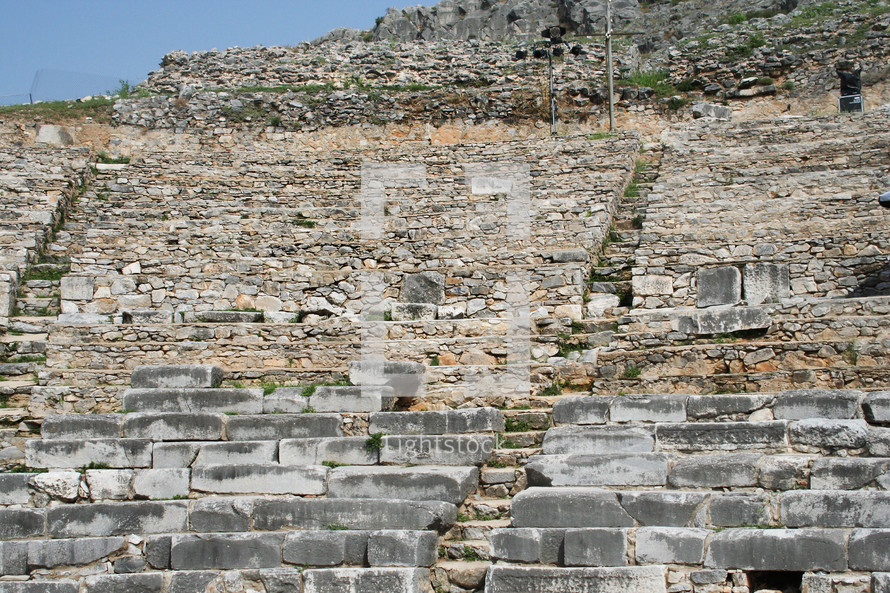 This is a historic theater in Philippi that would have been visited by the Apostle Paul, Silas, Lydia and early Christians from Acts 16. The theater would have housed dramas and gladiator fights.