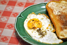 One egg and toast; a small breakfast for Lent.