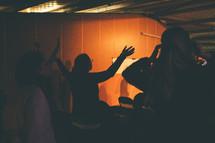 woman, man, raised hands, worship, worship service