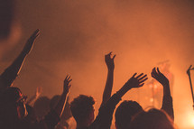 audience at a concert with raised hands