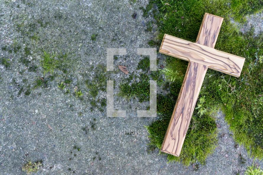 a wooden cross on moss