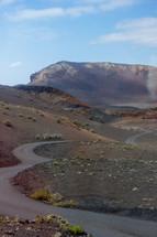 winding road, volcanic mountain, mountain, peaks, rock, landscape