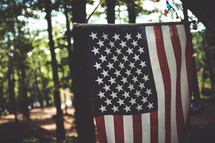 American flag hanging outdoors