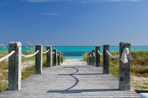 boardwalk leading to a beach