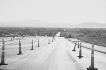 construction cones on a road in North Las Vegas