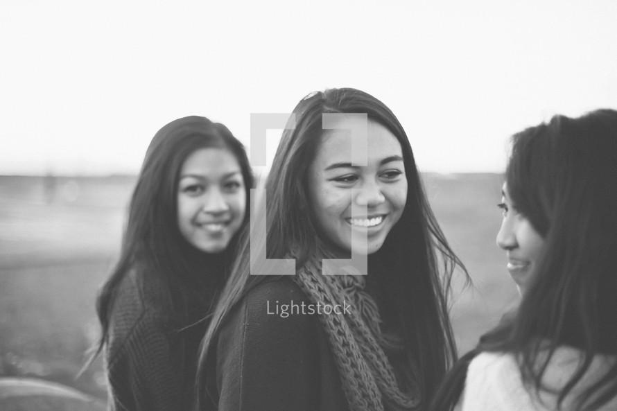Friends smiling together