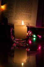 candlelight Christmas, candlelight Bible, Christmas lights, bokeh