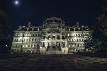 palace entrance at night
