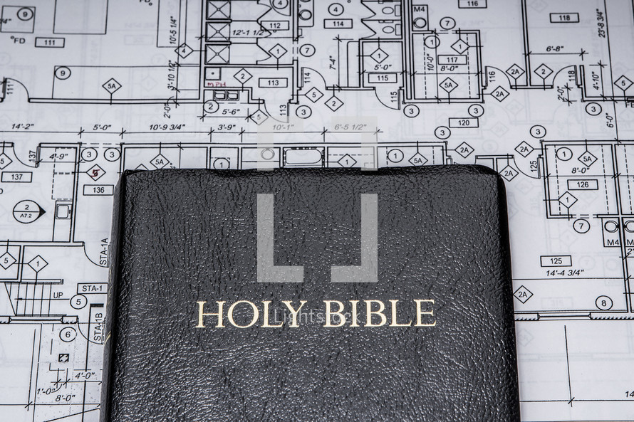blueprints and a Bible