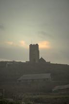a church on a hilltop