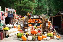 pumpkins and fall merchandise