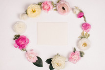 Flowers around a card